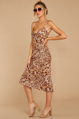8 Caught Your Eye Brown Multi Print Midi Dress at reddressboutique.com