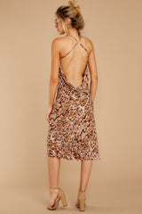 9 Caught Your Eye Brown Multi Print Midi Dress at reddressboutique.com