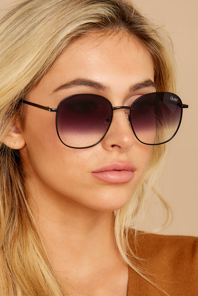 1 High Key Mini Rimless Gold Brown Sunglasses at reddressboutique.com