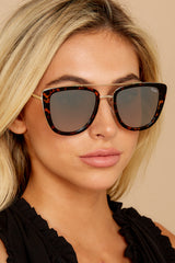 1 French Kiss Tortoise Gold Mirror Sunglasses at reddress.com