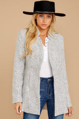 7 I Know Places Light Grey Tweed Coat at reddressboutique.com