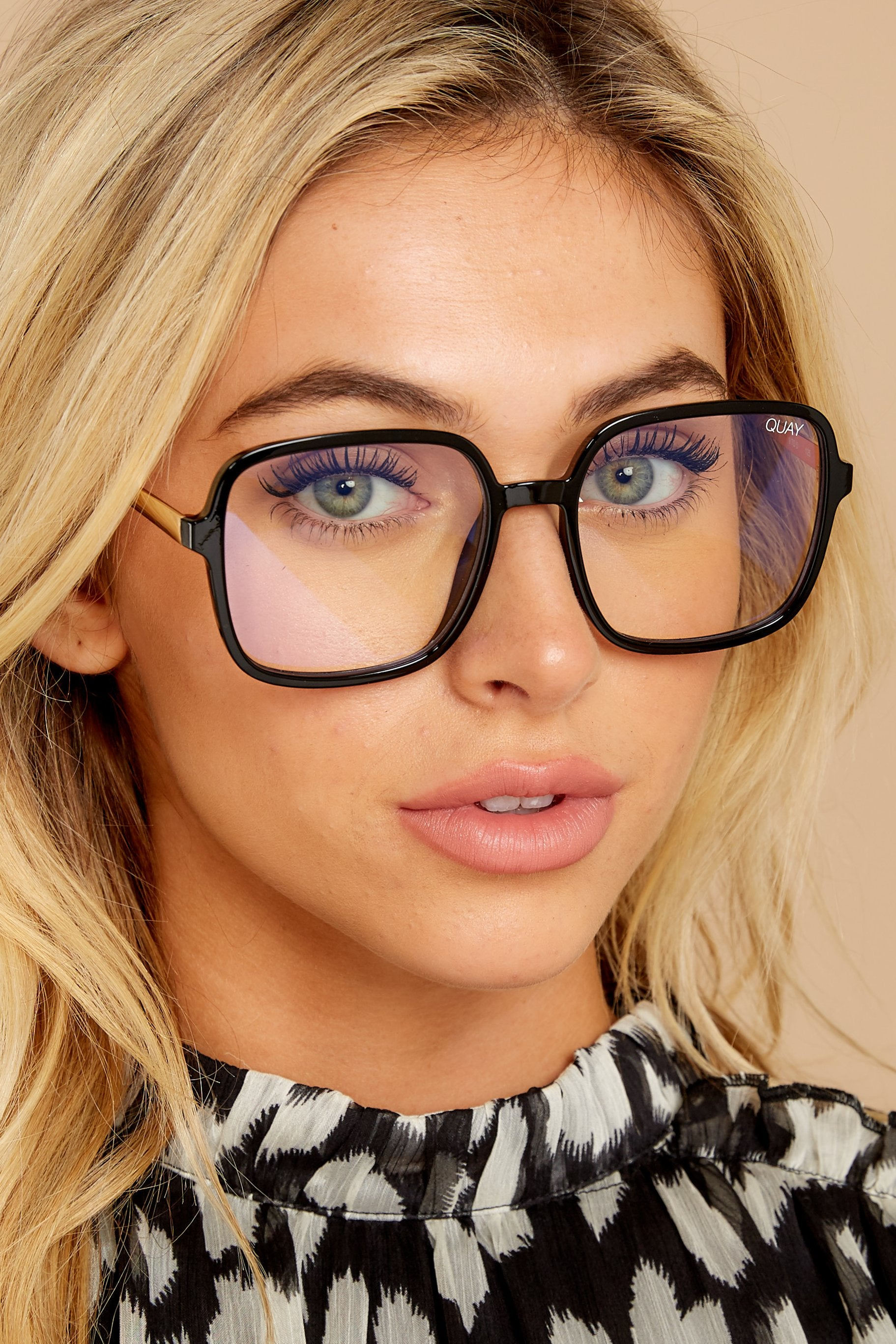 3 9 To 5 Black Clear Blue Light Glasses at reddressboutique.com