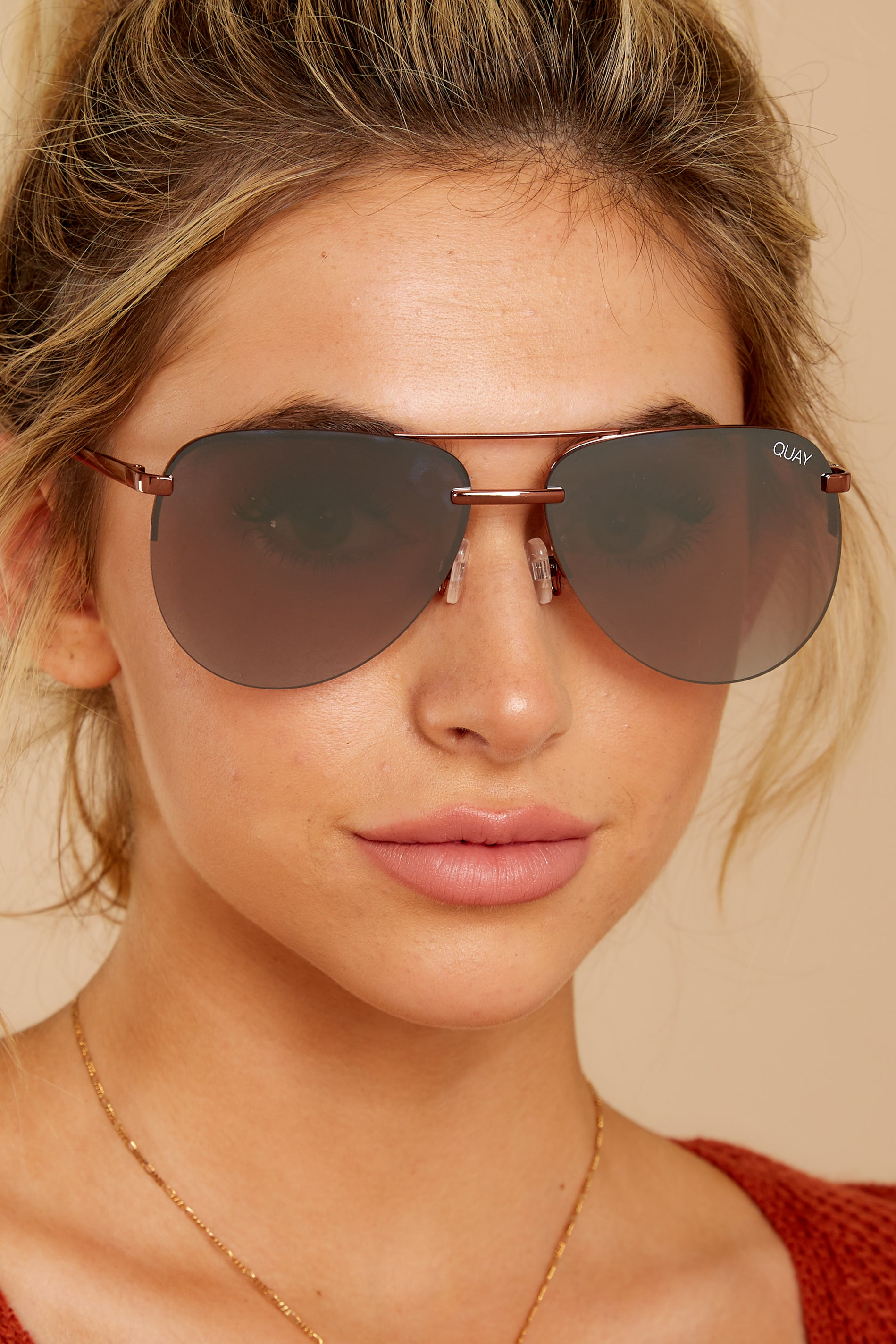 1 Playa Bronze Brown Flash Mirror Sunglasses at reddressboutique.com