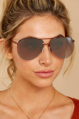 2 Playa Bronze Brown Flash Mirror Sunglasses at reddressboutique.com