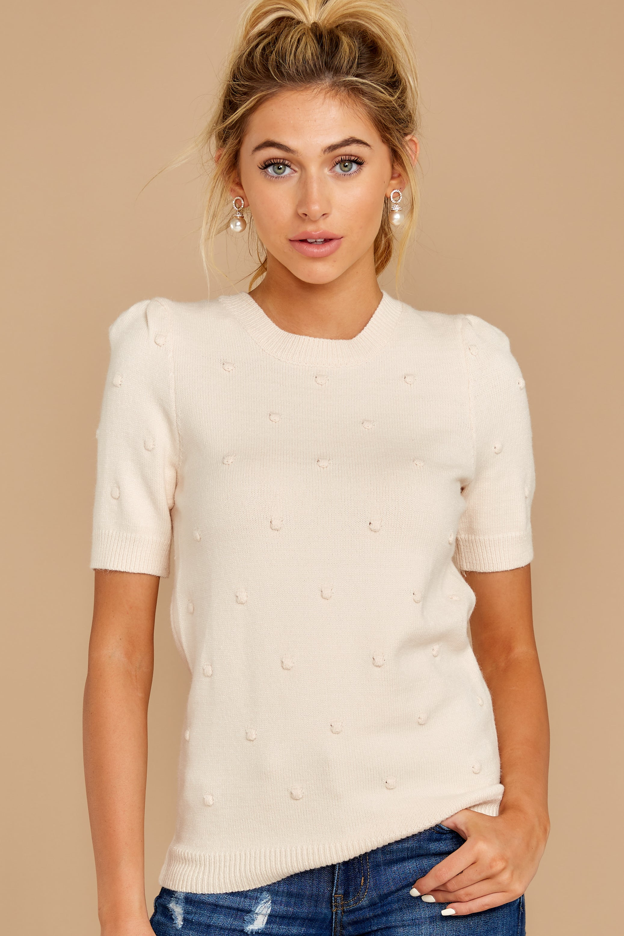 4 Time And Again Cream Top at reddressboutique.com