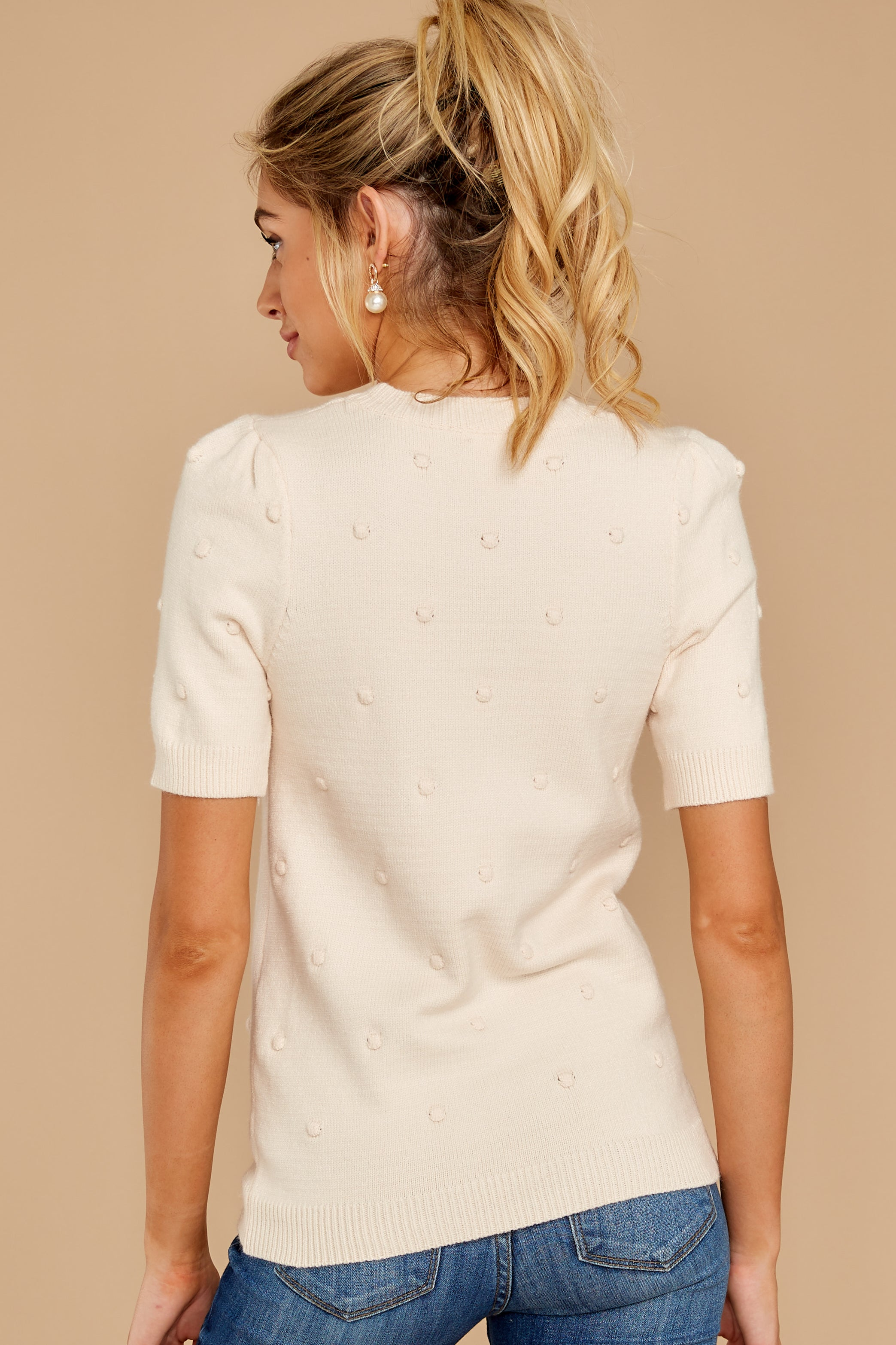 7 Time And Again Cream Top at reddressboutique.com