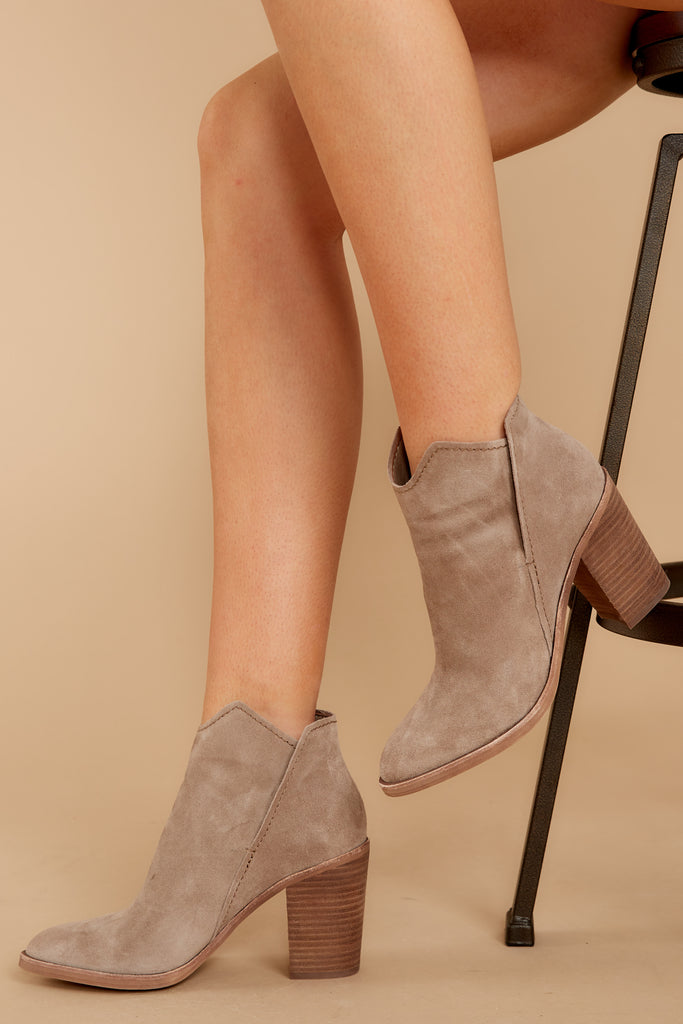4 Change The Tempo Sand Ankle Booties at reddressboutique.com