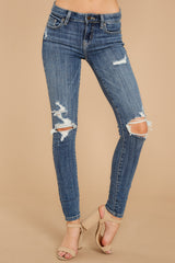 1 Whole Truth Medium Wash Distressed Skinny Jeans at reddressboutique.com