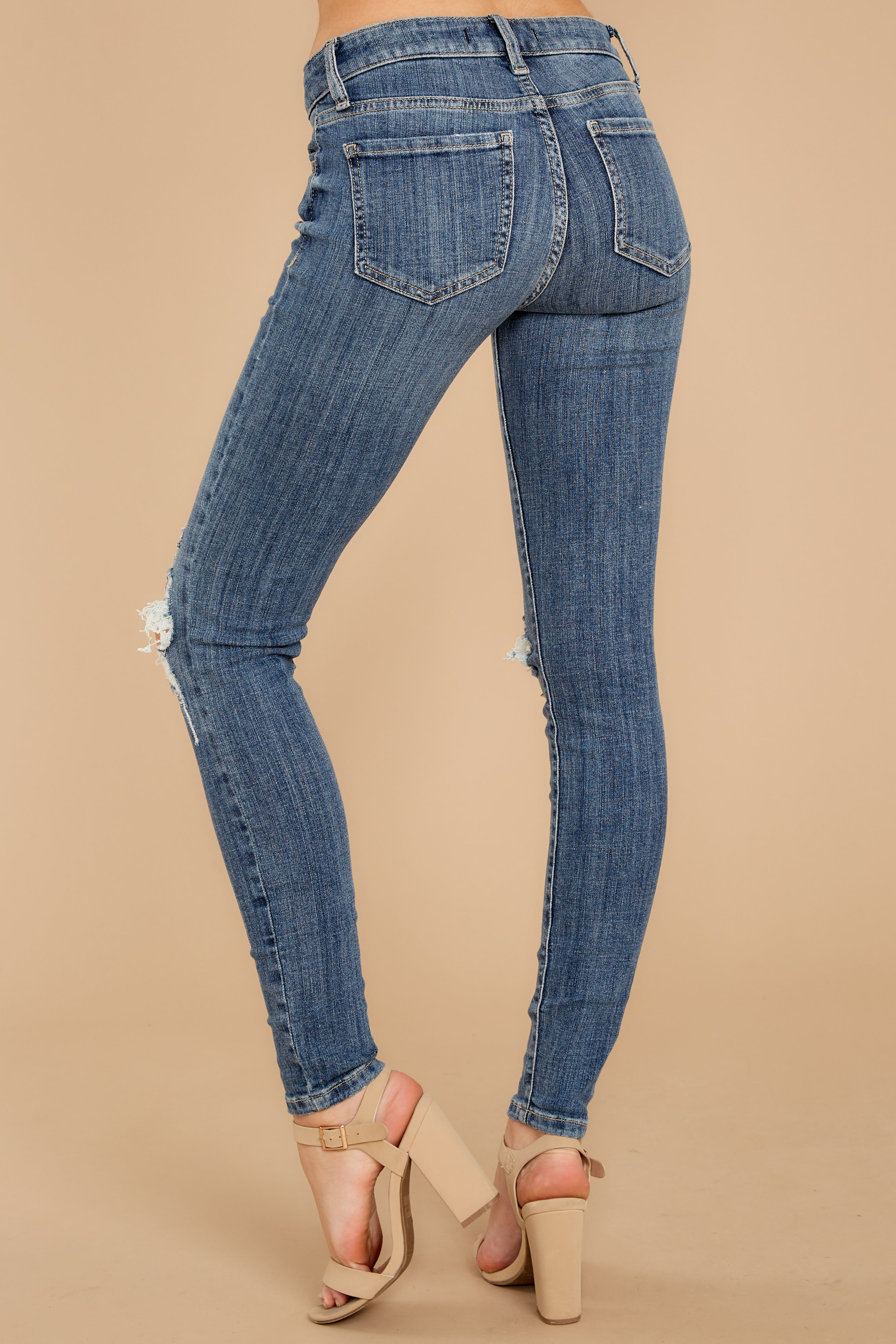 3 Whole Truth Medium Wash Distressed Skinny Jeans at reddressboutique.com