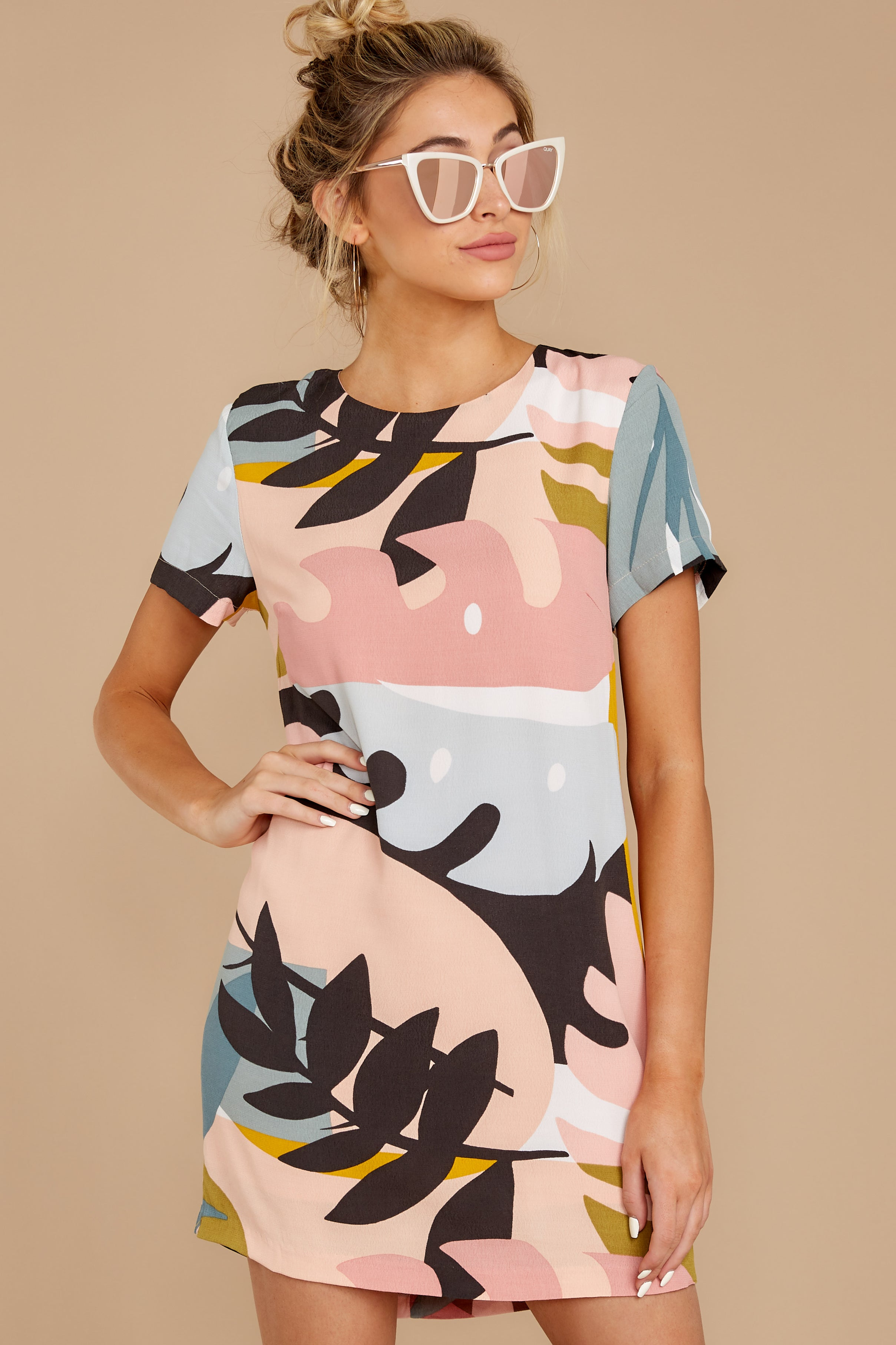 6 Party For Two Pink Multi Print Dress at reddressboutique.com