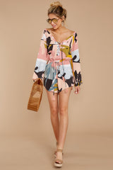 1 Hold Your Breath Pink Multi Print Romper at reddressboutique,com
