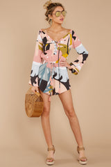 2 Hold Your Breath Pink Multi Print Romper at reddressboutique,com