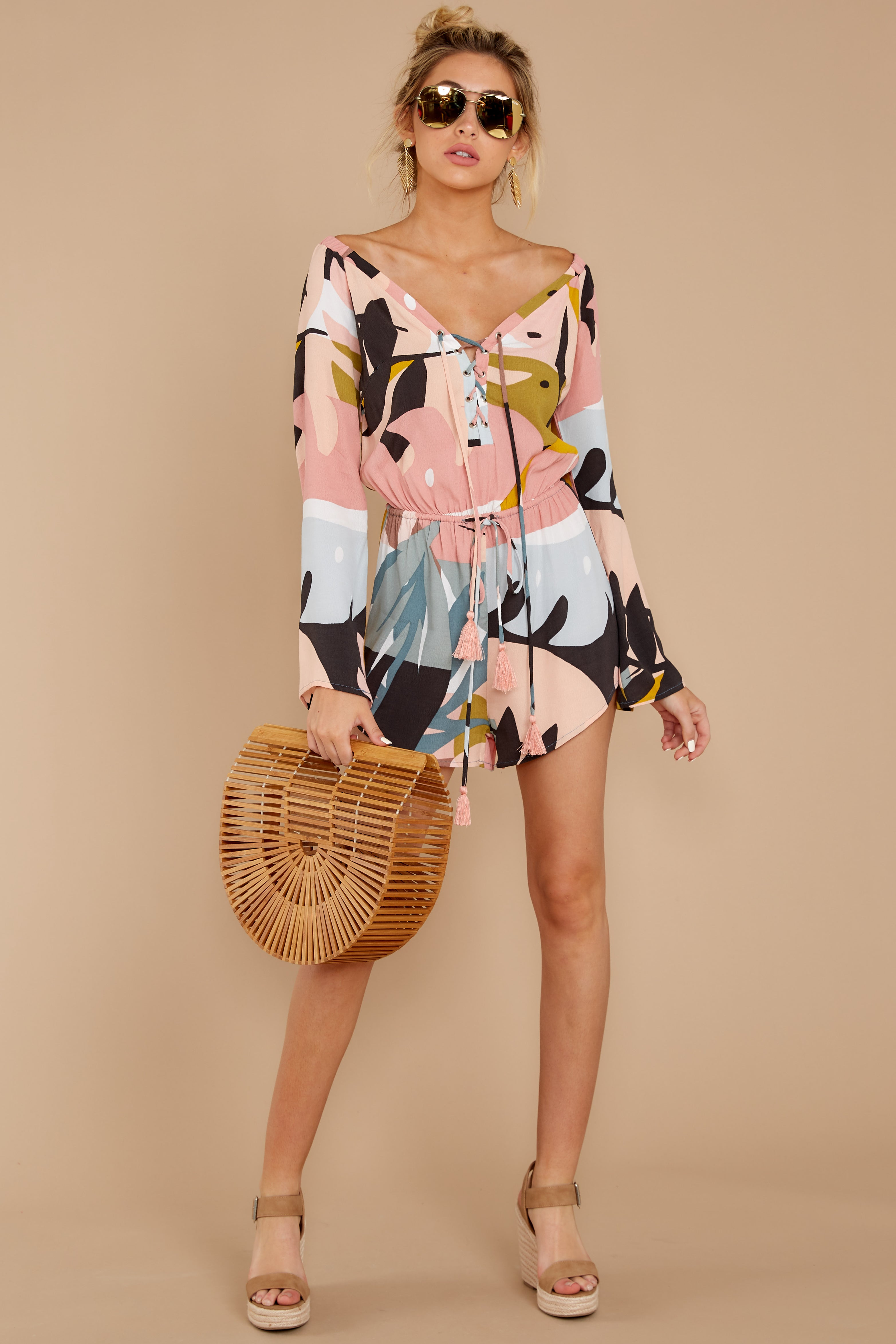 3 Hold Your Breath Pink Multi Print Romper at reddressboutique,com