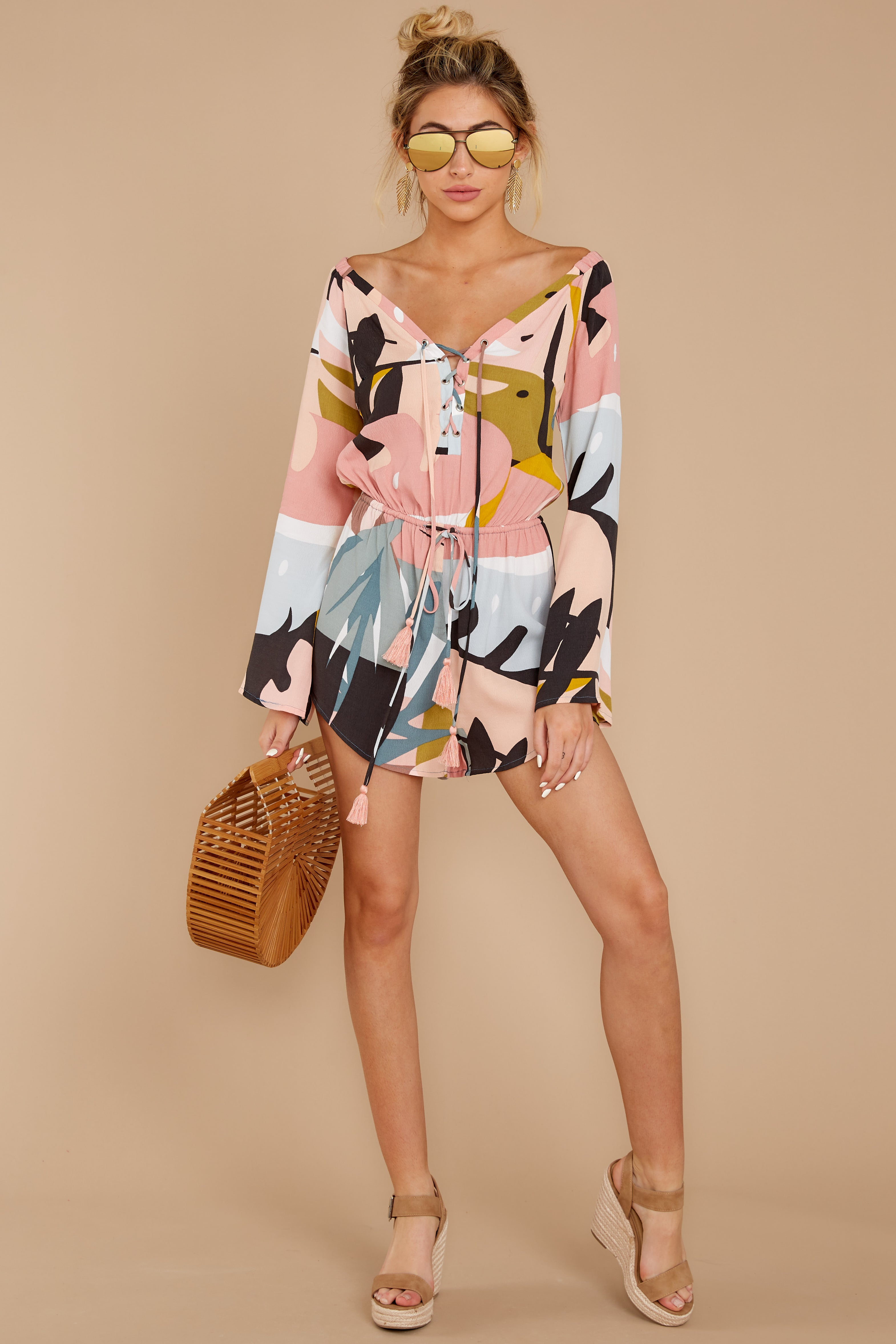 4 Hold Your Breath Pink Multi Print Romper at reddressboutique,com