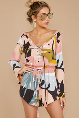 6 Hold Your Breath Pink Multi Print Romper at reddressboutique,com