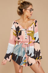 7 Hold Your Breath Pink Multi Print Romper at reddressboutique,com