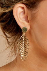1 The Queen Palm Gold Leaf Earrings at reddressboutique.com