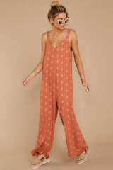5 She's Got A Way Clay Orange Print Jumpsuit at reddress.com