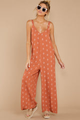 3 She's Got A Way Clay Orange Print Jumpsuit at reddress.com