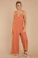 7 She's Got A Way Clay Orange Print Jumpsuit at reddress.com