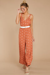4 She's Got A Way Clay Orange Print Jumpsuit at reddress.com
