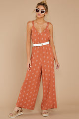 2 She's Got A Way Clay Orange Print Jumpsuit at reddress.com