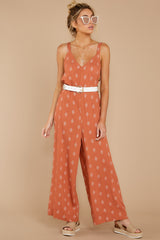 1 She's Got A Way Clay Orange Print Jumpsuit at reddress.com