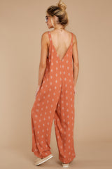 8 She's Got A Way Clay Orange Print Jumpsuit at reddress.com