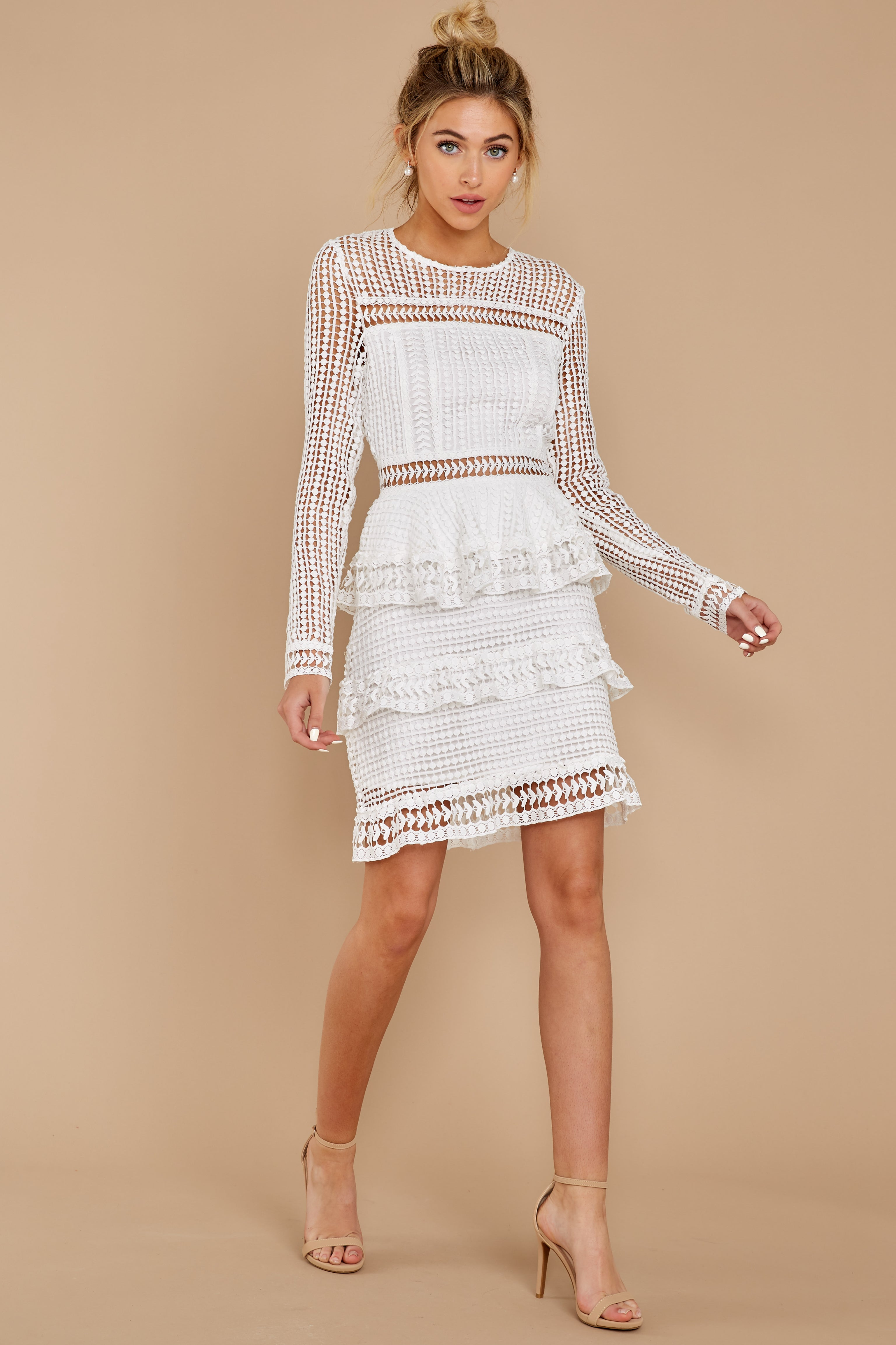 5 Out For Love White Lace Dress at redress.com