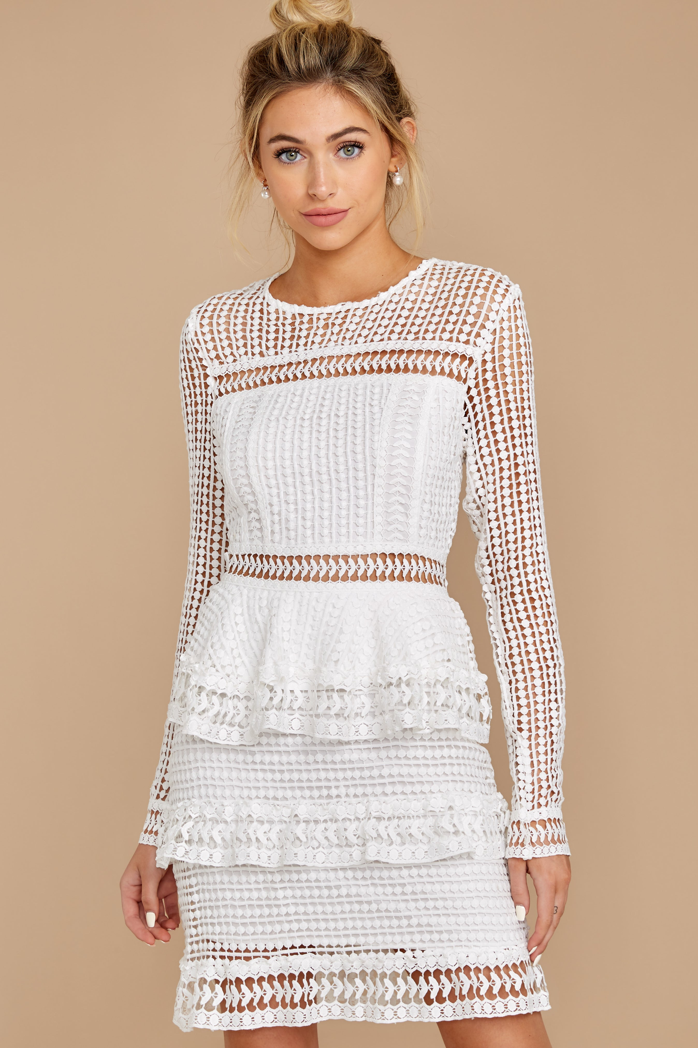 7 Out For Love White Lace Dress at redress.com