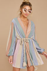 5 Sparks Fly Mauve Pink Multi Stripe Dress at reddressboutique.com