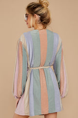 8 Sparks Fly Mauve Pink Multi Stripe Dress at reddressboutique.com