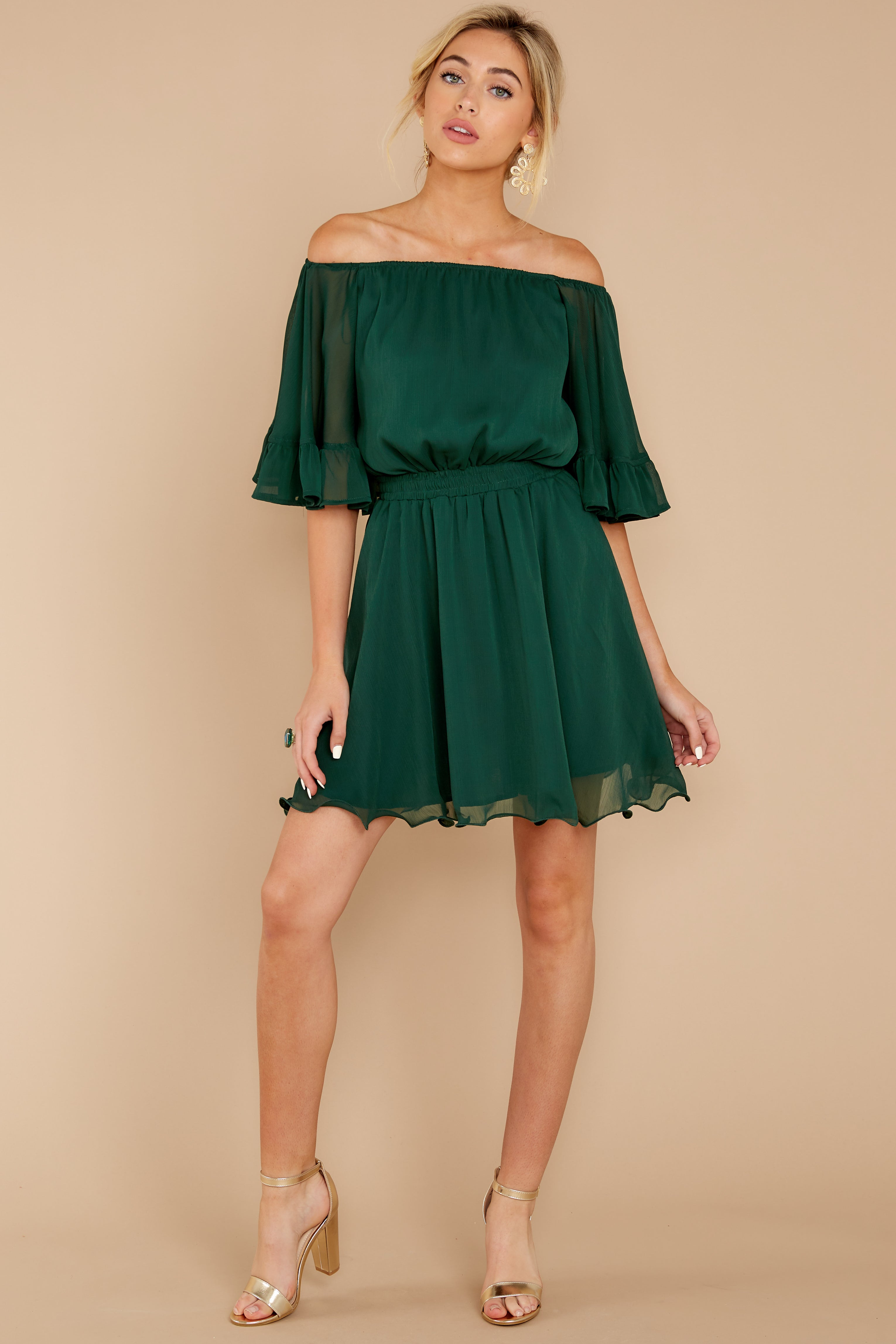 3 Effortless Grace Dark Green Dress at reddressboutique.com