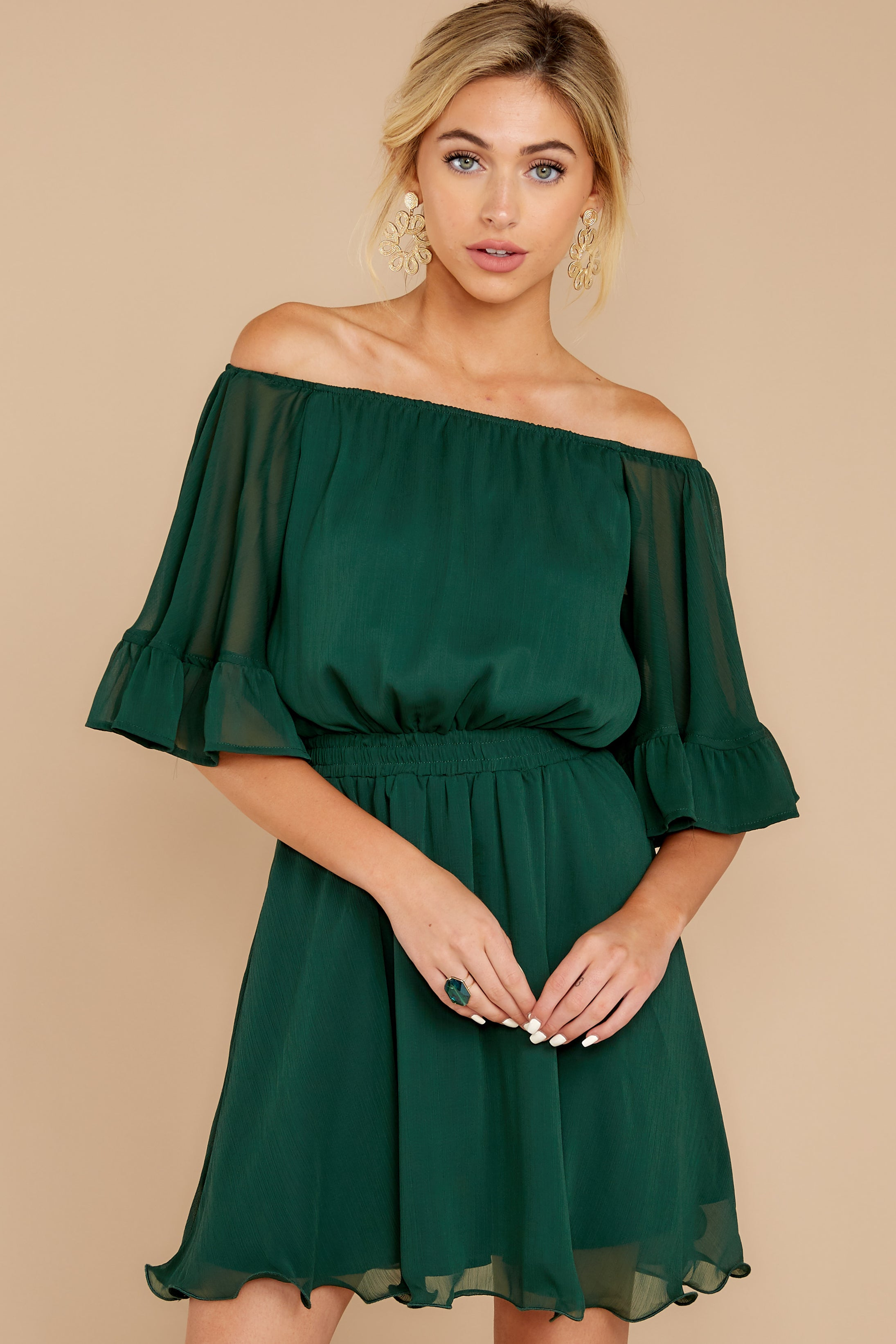 5 Effortless Grace Dark Green Dress at reddressboutique.com