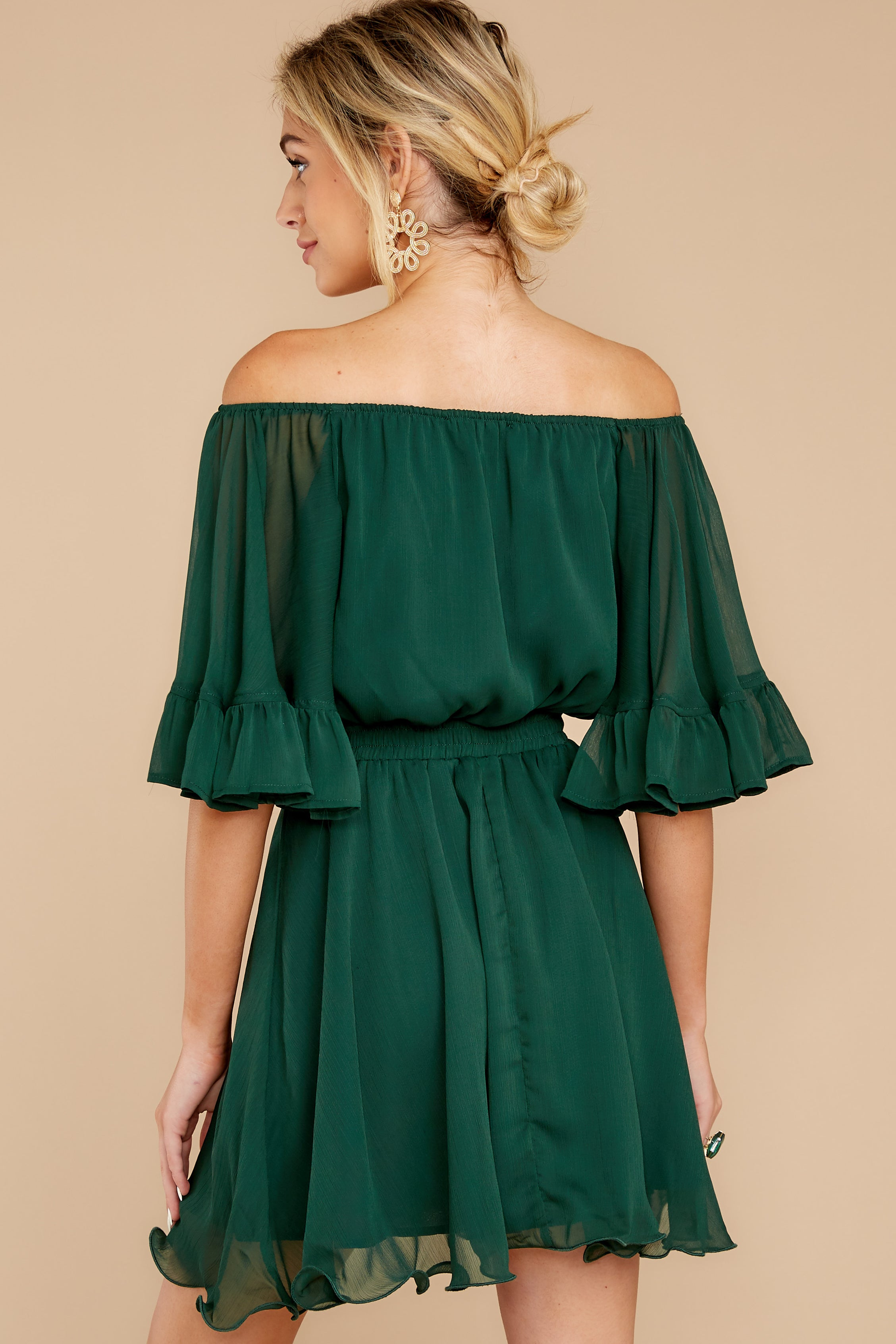 8 Effortless Grace Dark Green Dress at reddressboutique.com