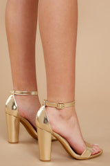 1 Plans To Dance Gold Ankle Strap Heels at reddressboutique.com