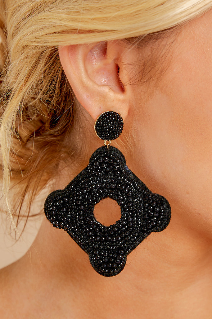 1 On Replay Black Beaded Earrings at reddressboutique.com
