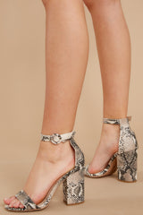 4 Can't Stop Won't Stop Snake Print Ankle Strap Heels at reddressboutique.com