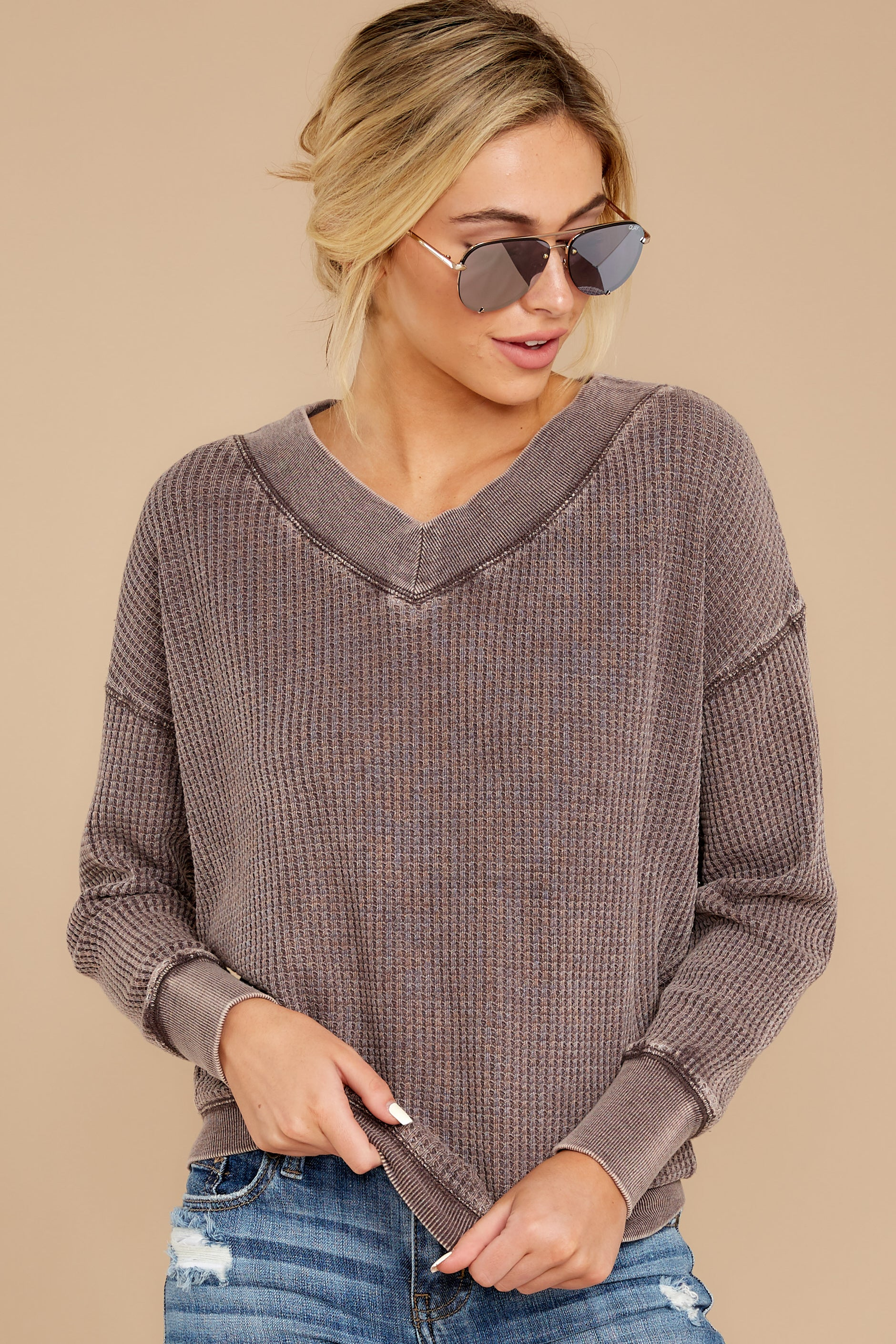 The Reddened Brown Emilia Waffle Thermal Top