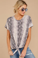 6 She's On The Move Snake Print Tie Top at reddressboutique.com