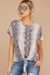 4 She's On The Move Snake Print Tie Top at reddressboutique.com