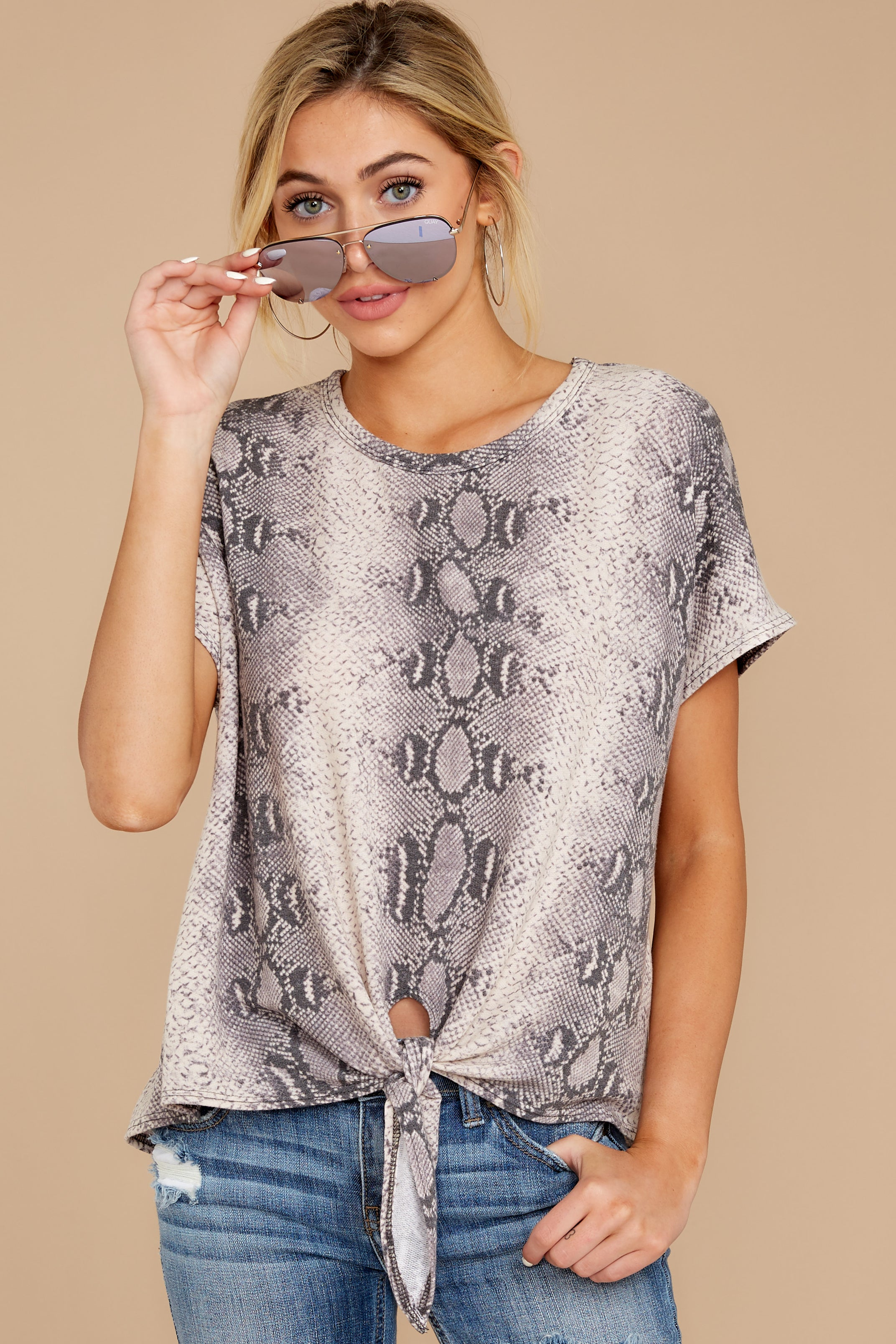 7 She's On The Move Snake Print Tie Top at reddressboutique.com