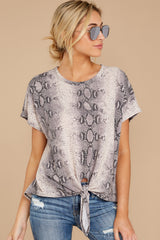 5 She's On The Move Snake Print Tie Top at reddressboutique.com