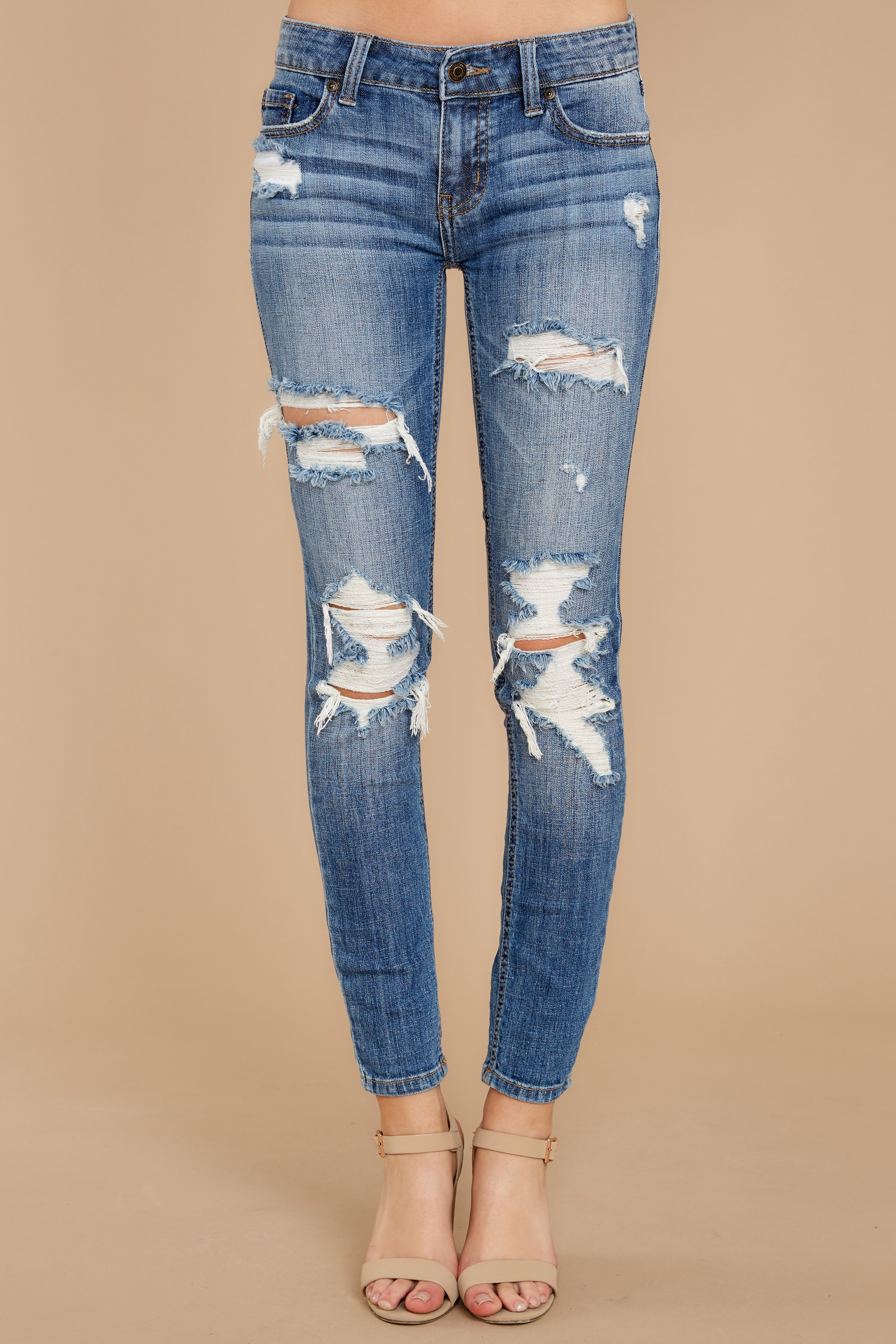 2 Clearly Obvious Medium Wash Distressed Skinny Jeans at reddress.com