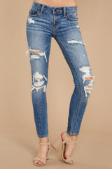 1 Clearly Obvious Medium Wash Distressed Skinny Jeans at reddress.com