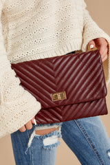 1 In Line With Style Burgundy Clutch at reddressboutique.com