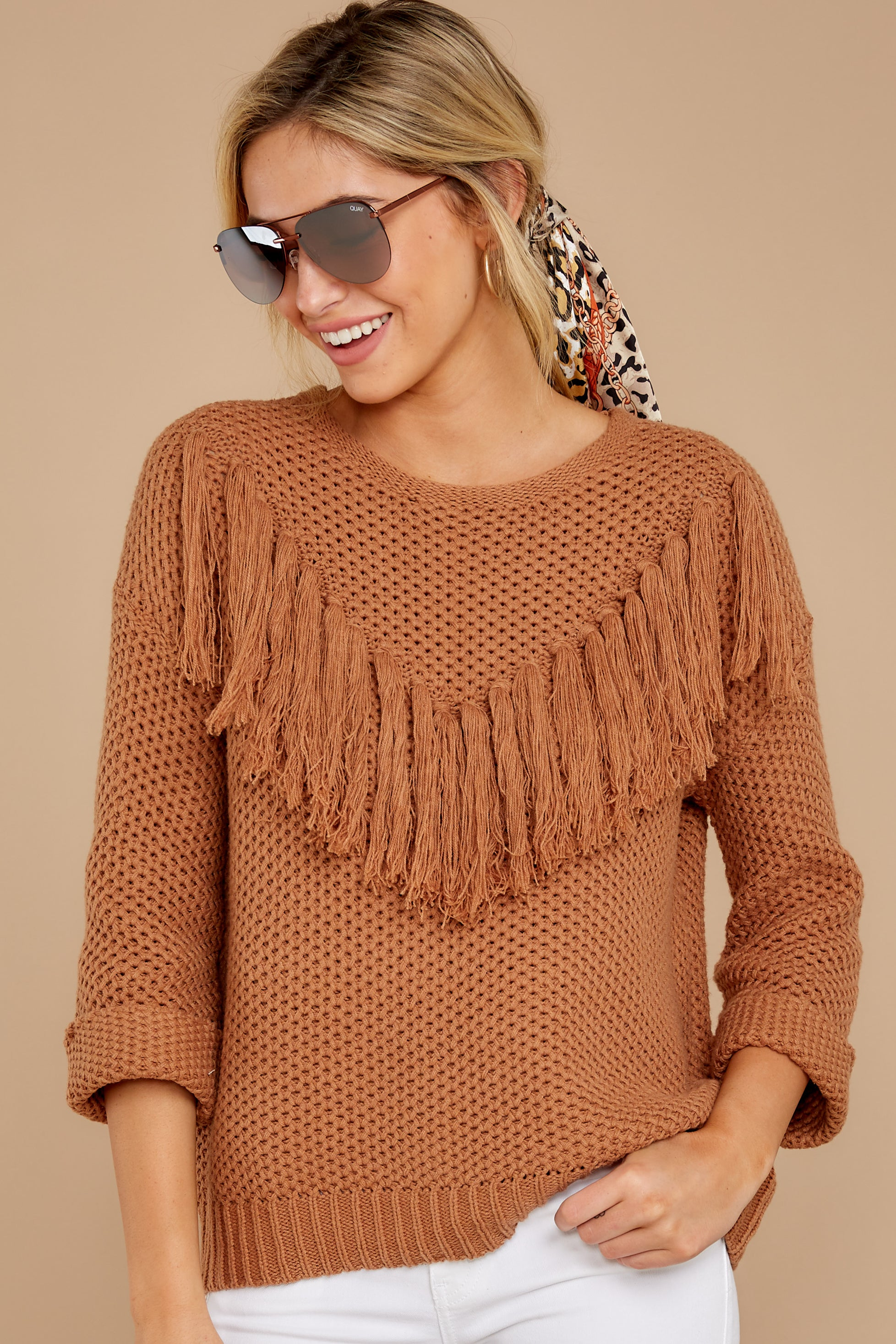 4 Timing Is Everything Caramel Sweater at reddressboutique.com