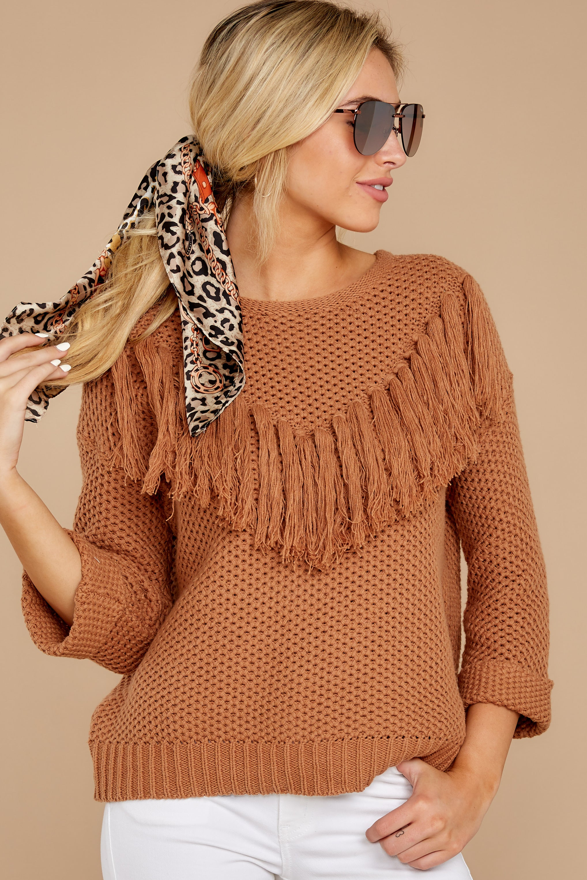 5 Timing Is Everything Caramel Sweater at reddressboutique.com