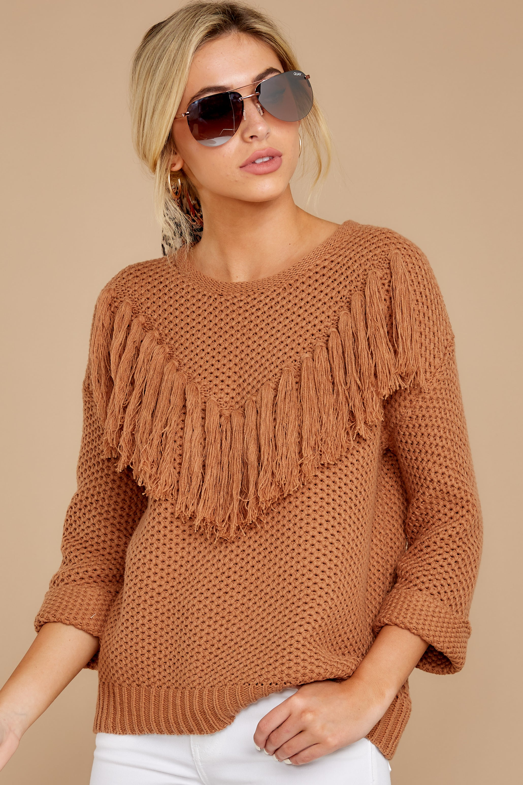 7 Timing Is Everything Caramel Sweater at reddressboutique.com