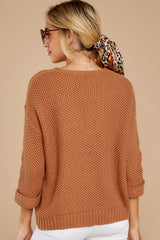 8 Timing Is Everything Caramel Sweater at reddressboutique.com